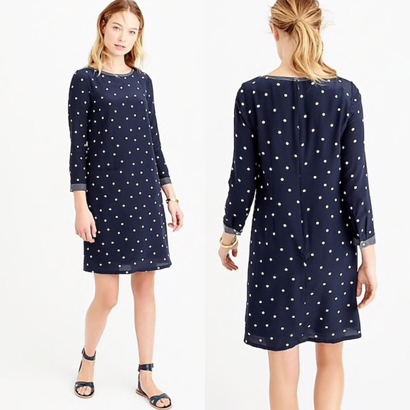 d3d86a9b1232 J. Crew Dresses   Skirts - J. Crew Silk Shift Polka Dot Navy Blue